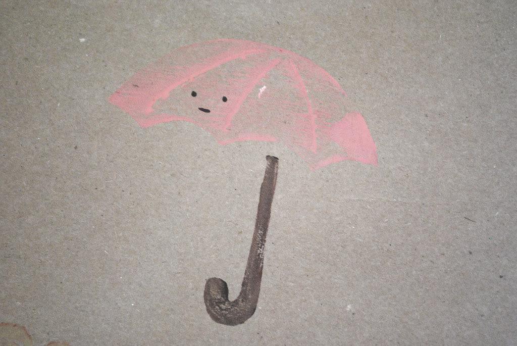 umbrella on kraft paper