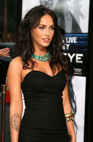 Megan Fox at the premiere of the Shia LaBeouf film EAGLE EYE, late last year.