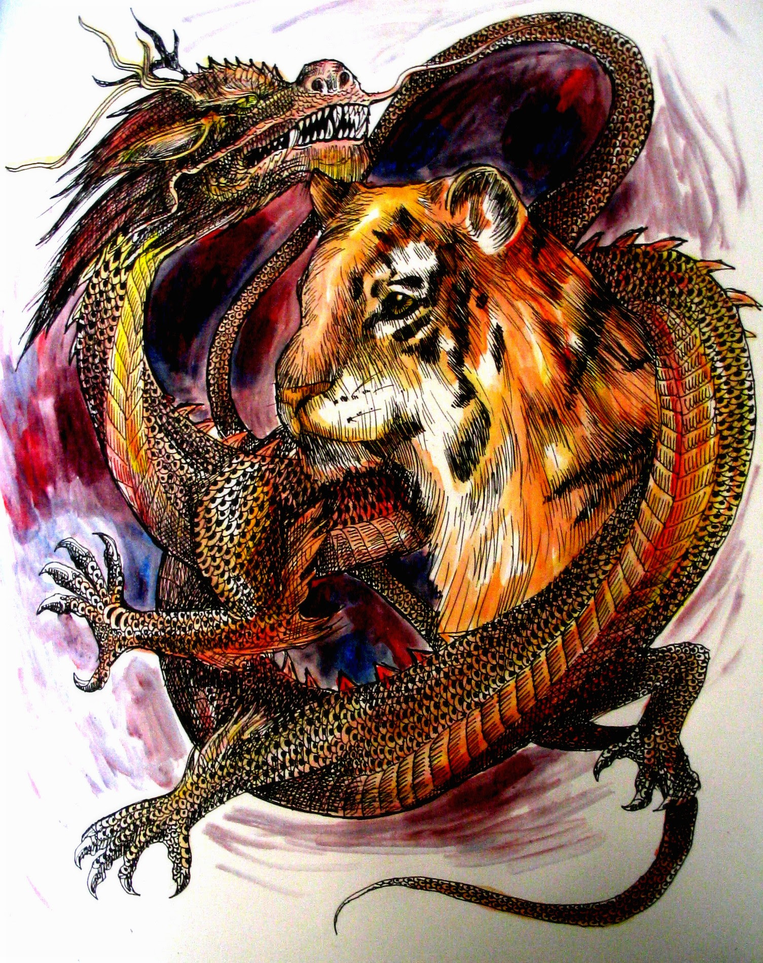Wolf Dragon Tiger Color Tattoo Design