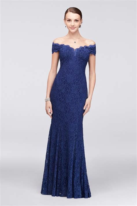 Scalloped Off the Shoulder Lace Mermaid Dress David's
