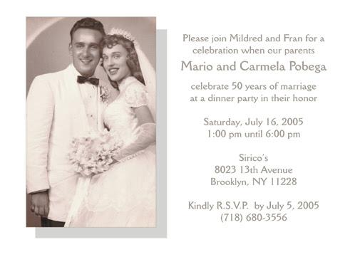 Wedding Anniversary Invitation Message: Wedding Invitation Wording: 50th Wedding Anniversary