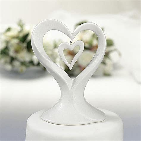 Double Heart Porcelain Wedding Cake Topper