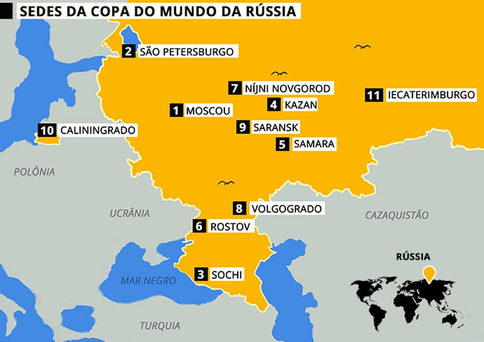 Volgogrado fica ao sul da Rússia e receberá quatro jogos da fase de grupos (Foto: Infografia )