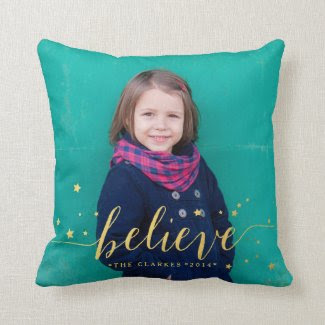 Gold Believe Stars | Holiday Photo Throw Pillow