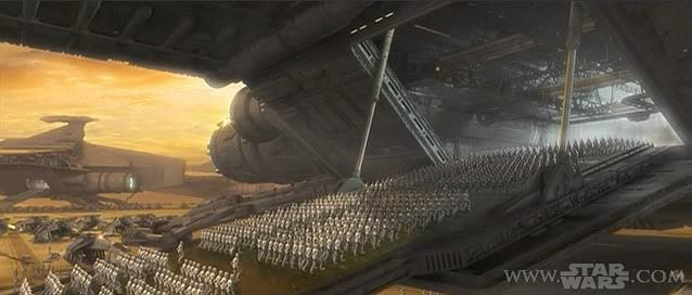 Hundreds of clonetroopers board a Republic ship in Attack of the Clones