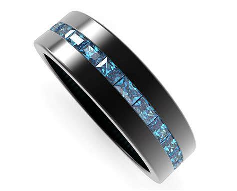 Black Gold Rings Baguette Blue Diamond Wedding Band For