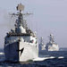 Chinese warships heading to naval drills with Russia.