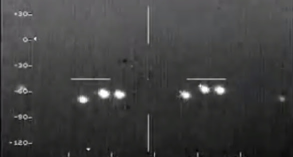 Ben predicted the first light in the second group of three would separate into two lights as the plane progressed. (Credit: Mexican Air Force)
