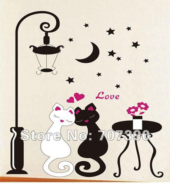 Buy cheap Romantic cat Home sticker Wall decor Murals Decals Art ...
