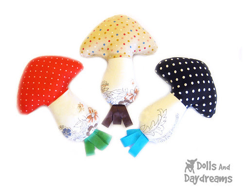 mushroom rattle softie sewing pattern