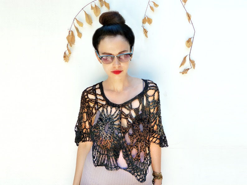 Womens Clothing, Black Crochet Shrug, Handmade Top, Shawl Poncho, Fall Accessories - ALUMAhandmade