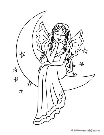 Fairy on the moon coloring pages - Hellokids.com