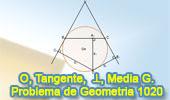Problema de Geometría 1020 (English ESL): Circunferencia, Tangente, Cuerda, Perpendicular, Media Geométrica