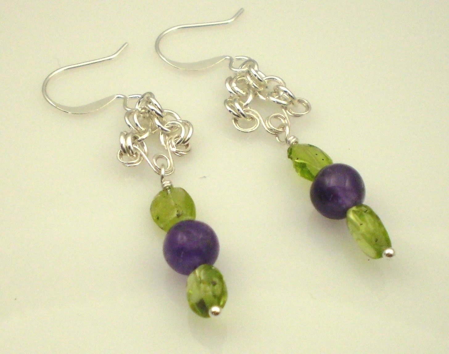 Fields of Violets Earrings - Amethyst and Peridot with Sterling Silver Wire and Chain Maille