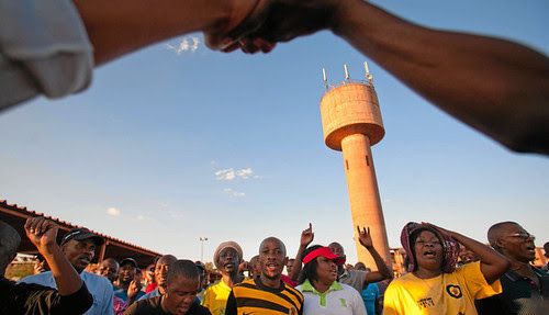 A Sishen mine protest in northern cape. The Republic of South Africa has been hit by a series of strikes since early 2012. by Pan-African News Wire File Photos
