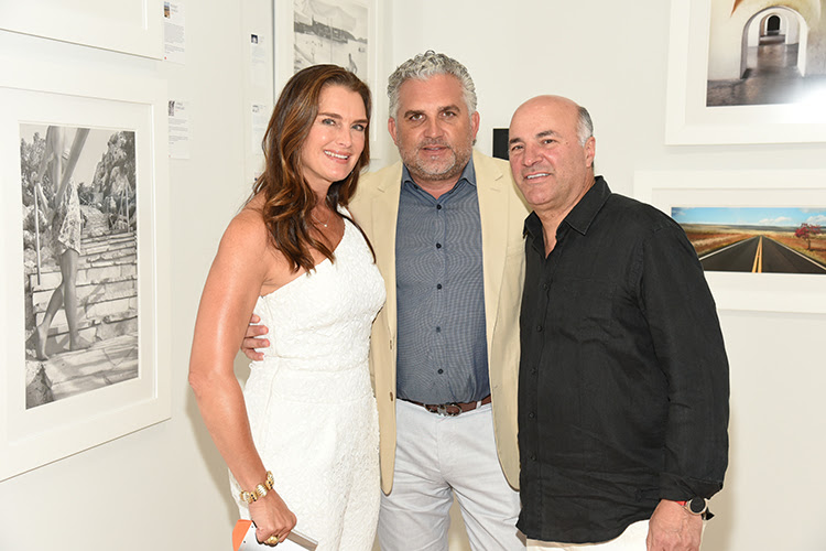 Brooke Shields, Nick Korniloff, and Kevin O'Leary at the opening of ArtSouthampton. Courtesy of Annie Watt and Steve Eichner.