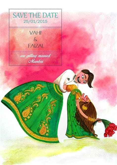 Save the date, wedding invite. Indian bride and groom