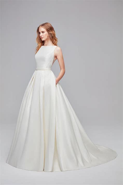 high neck mikado ball gown wedding dress wg