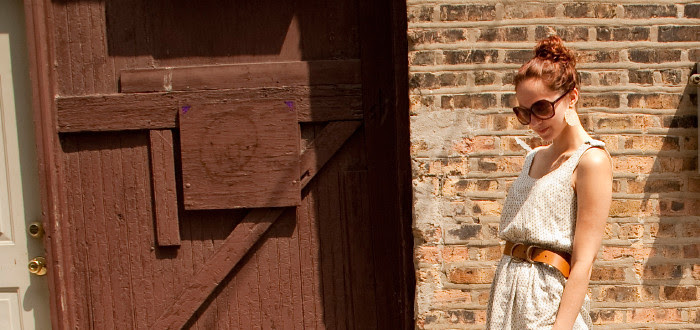 dashdotdotty dash dot dotty brick wall outfit post white dress and big belt, alley photos