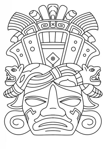Coloriage Masque Maya Coloriages à Imprimer Gratuits