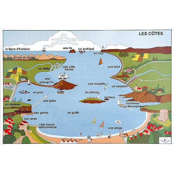 Ens. de 3 affiches 102x70 cm : le vocabulaire de la géogrpahie