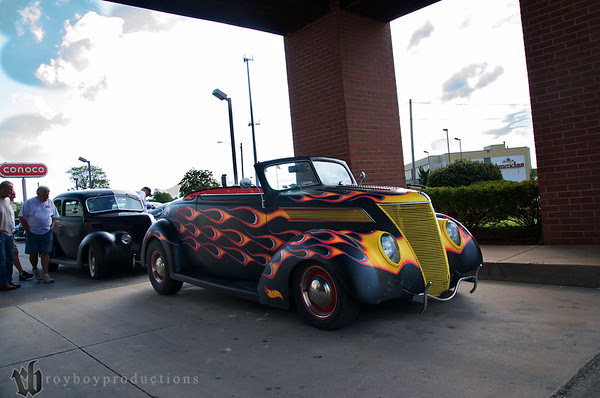 Hot Rod Dan's 37 with the new Fast AL's interior at the host hotel before the Garage Krawl