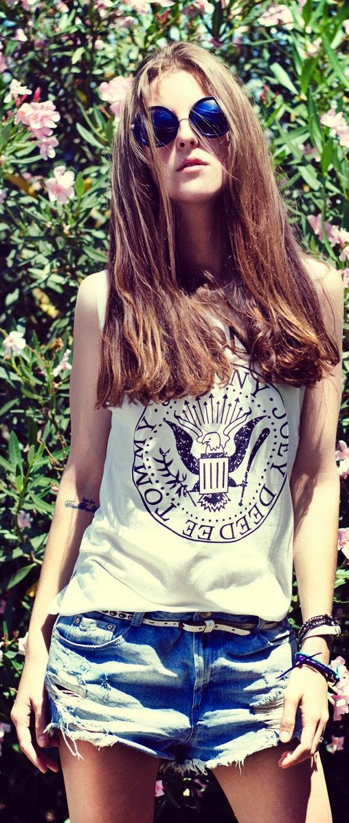 Wholesale7 White Must-have Rocky Women's Ramones Print Tank by Neon Rock