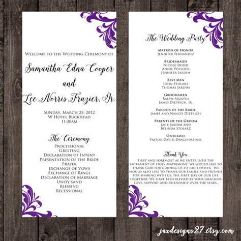 Wedding Program Template   Wedding Programs   Tea Length