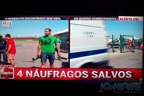 Pedro Agostinho Cruz (fotojornalista) na cobertura do naufrágio ao largo da costa da Figueira da Foz em direto na televisão na CMTV