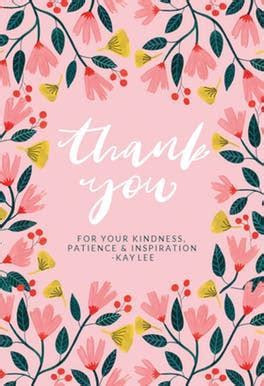Pink Floral   Thank You Card For Teacher   Greetings Island