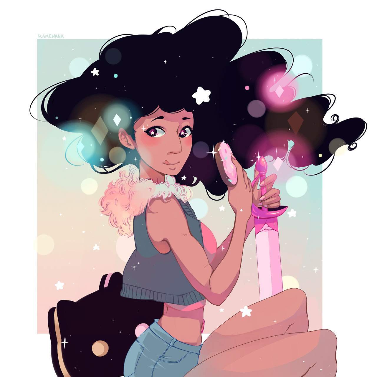 Stevonnie print finished! I ended up changing so much from the original but I hope you guys still like it!