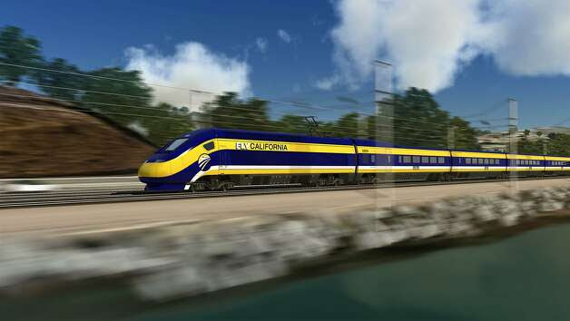 An artist's rendering of the proposed high-speed train traveling in California. Photo: Associated Press / SF