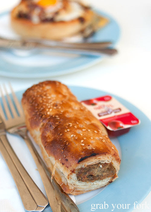 Pork and fennel sausage roll at Strawberry Fields Dulwich Hill