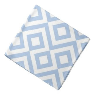 Light Blue and White Meander Head Kerchiefs