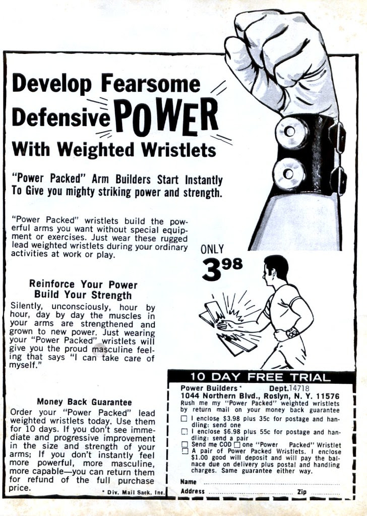 weighted wristlets 1971 comic book body building ad
