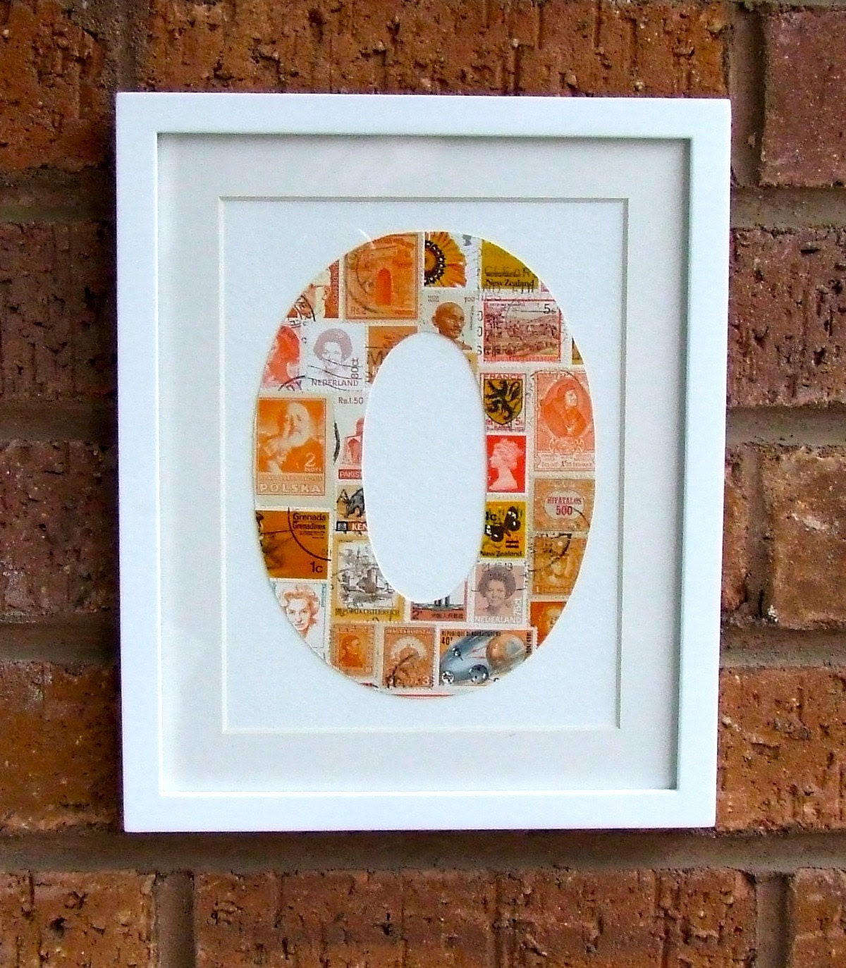 Framed Postage Stamp Letter O Initial in Citrus Orange.