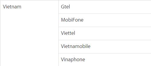 nhà mạng hỗ trợ nhận OTP Apple