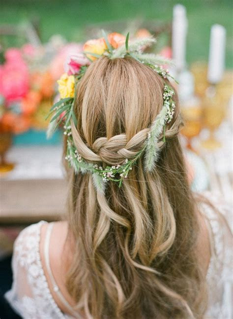 Rustic Half Up Half Down Braided Wedding Hairstyle with