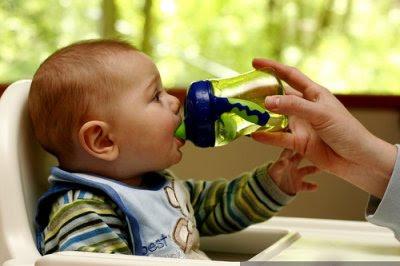 Bebé a beber água