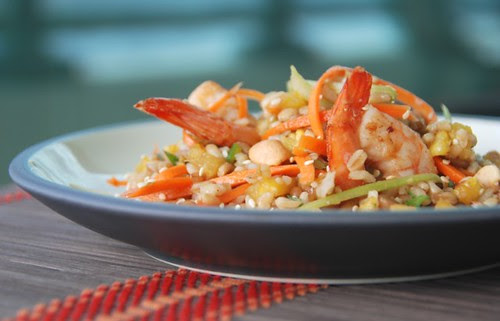 asian 7 grain shrimp salad straight on