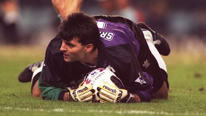 Pavel Srnicek in action for Newcastle United