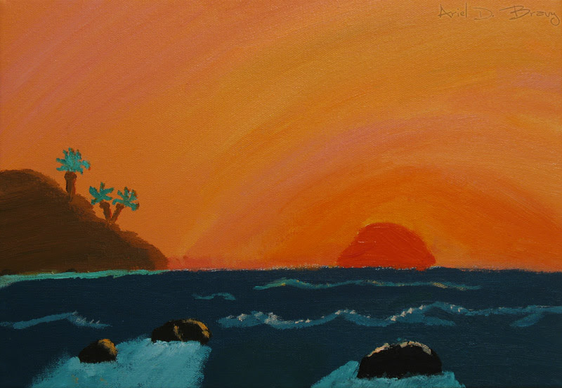 Simple Ocean Sunset Painting