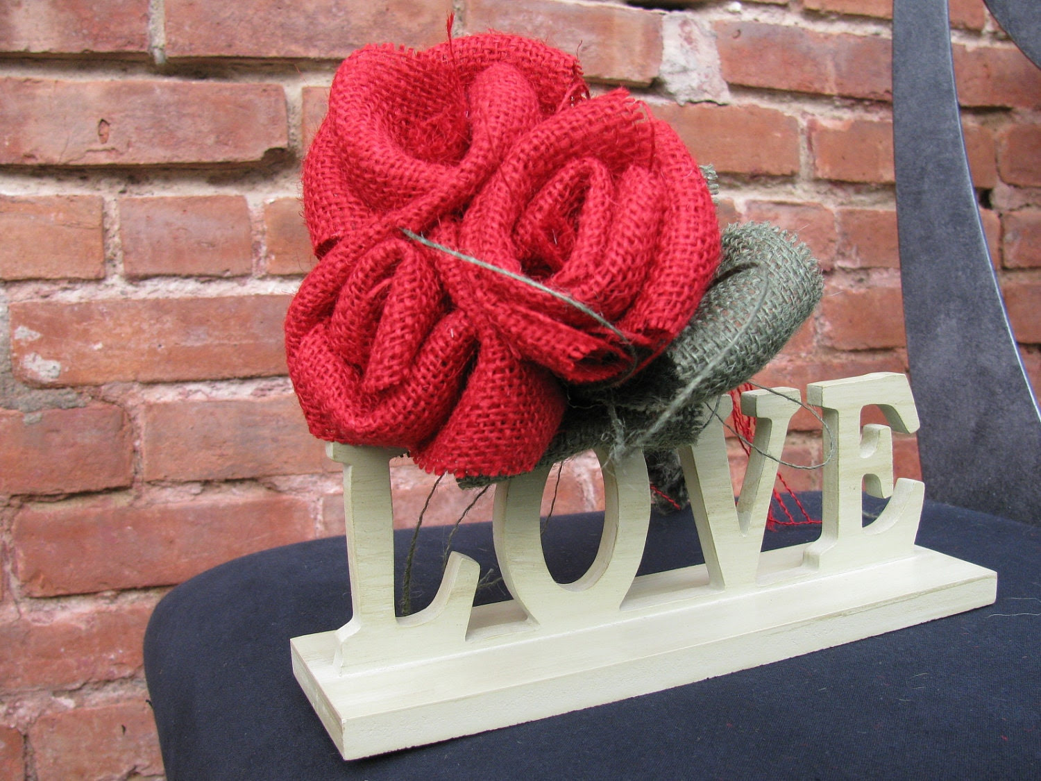 Burlap Red Roses  Valentine's Day Handmade Bridal Bouquet - supplierofdreams