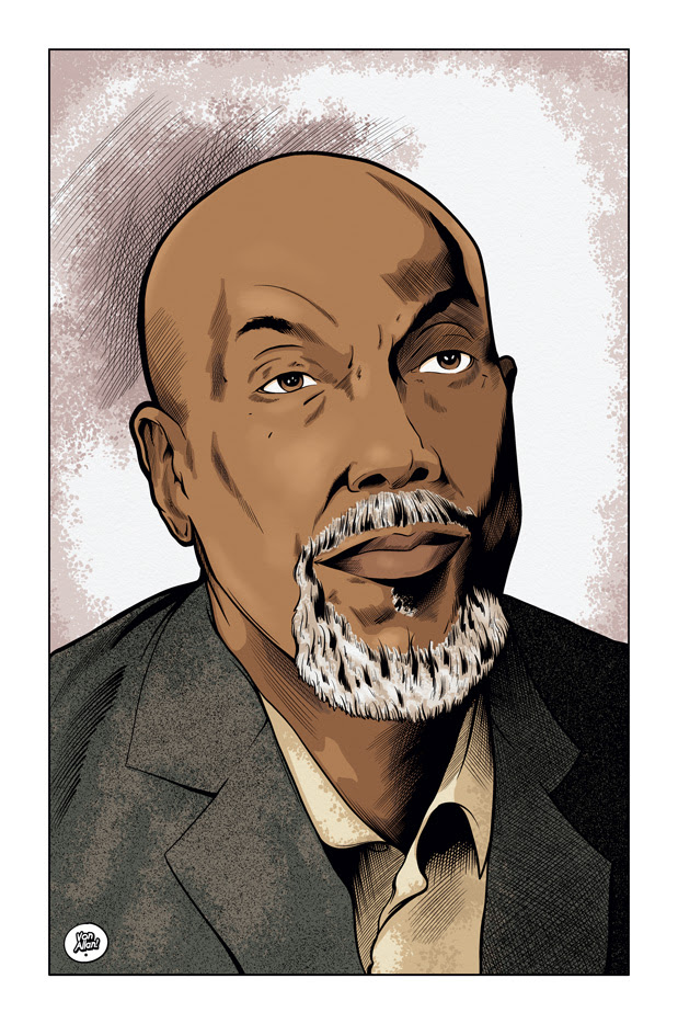 Colour portrait of Ajamu Baraka by Von Allan