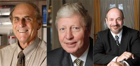 De izqda. a dcha, Steinman, Hoffmann y Beutler. | Nobelprize.org