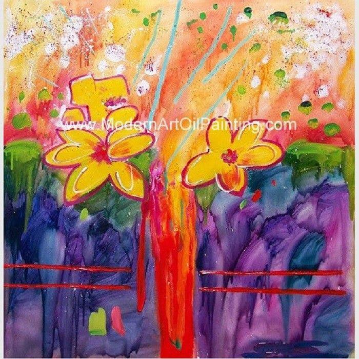 Peinture à Lhuile Abstraite Encadrée Par Fleur Faite Main Par L