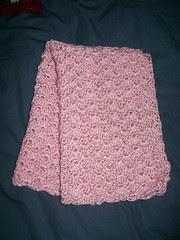 Pink crochet handtowel