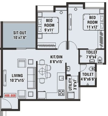 Floor Plans of 2 BHK Flat No 8 - Carept 660 + Sit Out 75 - For Rs. 48.11Lakh - A 1 Wing - Floors 4 & 6 - Venkatesh Lake Life Phase 1 - 1 BHK, 2 BHK Flats & Shops at Jambhulwadi Lake, Ambegaon Khurd, Katraj, Pune