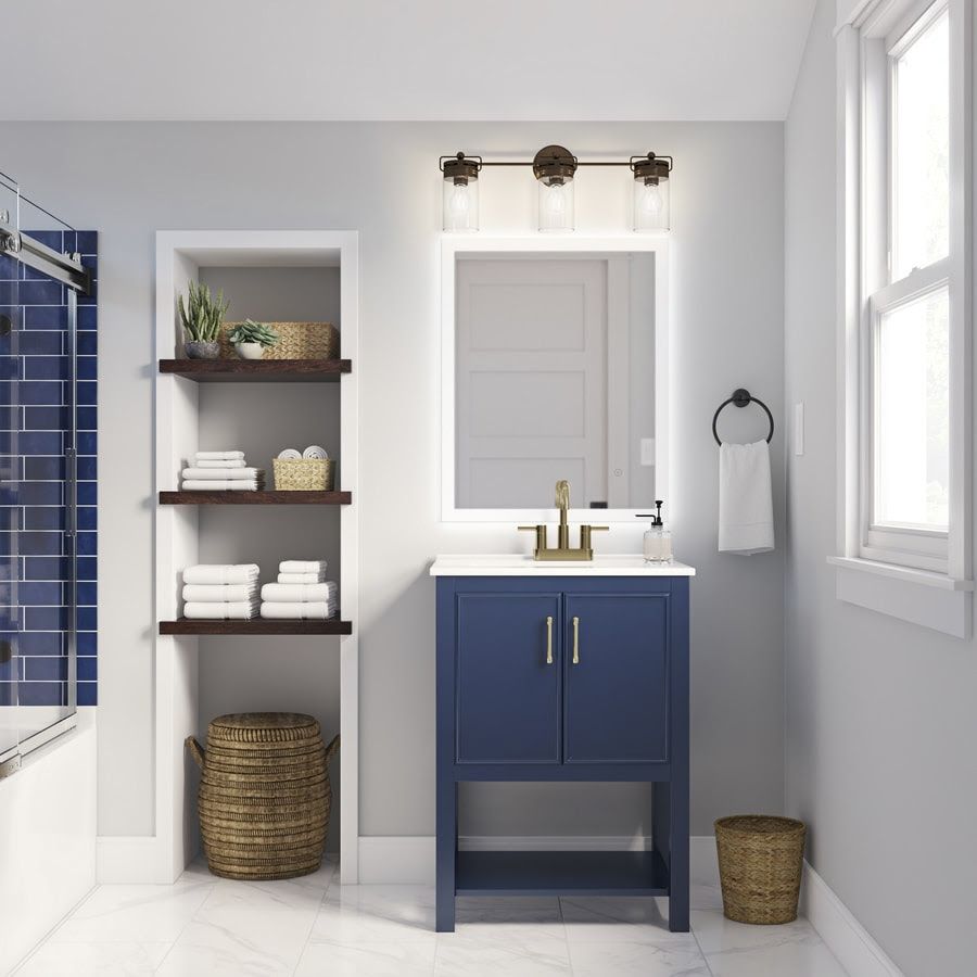 allen + roth Presnell 24-in Navy Blue Single Sink Bathroom Vanity with  White Porcelain Top
