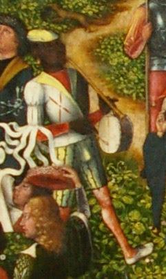 detail of Schuttersfeest (Festival of the Archers) by Meester van Frankfurt, 1493 showing a black african drummer